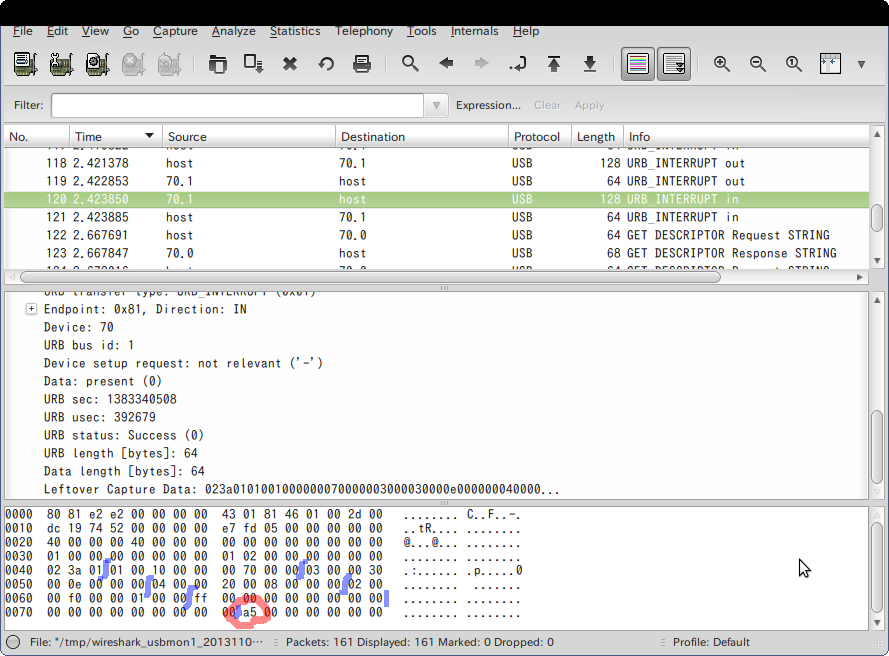 Screenshot-USB bus number 1   [Wireshark 1.6.7 ]