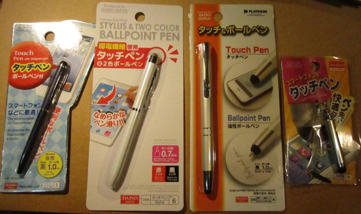 ダイソータッチペン4種